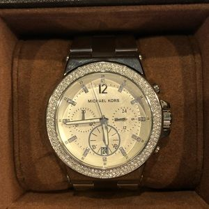 Preloved Michael Kors Silver w/crystals watch